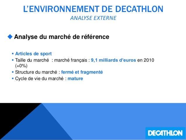 L'ENVIRONNEMENT DE DECATHLON ANALYSE EXTERNE Analyse du marché de référence  Articles de sport  Taille du marché : marc...