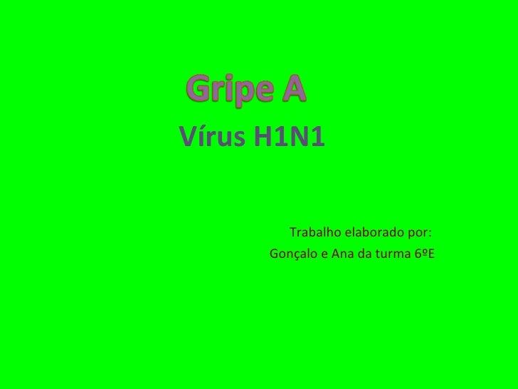 Vírus H1N1  Trabalho elaborado por:  Gonçalo e Ana da turma 6ºE