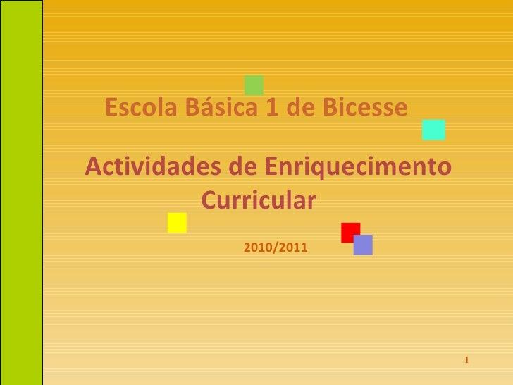 Escola Básica 1 de Bicesse Actividades de Enriquecimento Curricular  2010/2011