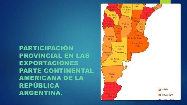 PARTICIPACIÓN PROVINCIAL EN LAS EXPORTACIONES PARTE CONTINENTAL AMERICANA DE LA REPÚBLICA ARGENTINA.