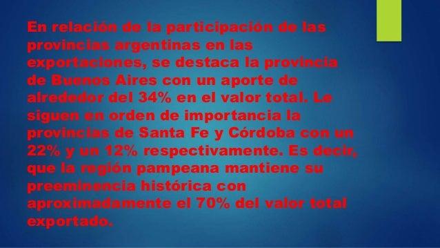 En relación de la participación de las provincias argentinas en las exportaciones, se destaca la provincia de Buenos Aires...