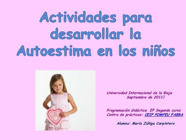 Universidad Internacional de la Rioja           Septiembre de 2011Programación didáctica EP Segundo cursoCentro de prácti...
