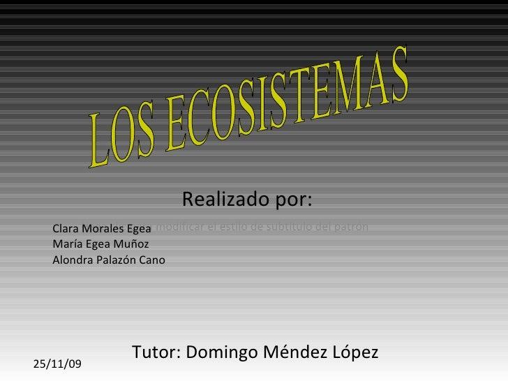 Realizado por: Clara Morales Egea María Egea Muñoz Alondra Palazón Cano Tutor: Domingo Méndez López LOS ECOSISTEMAS