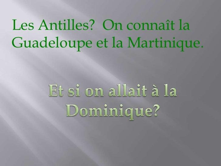Les Antilles?  On connaît la Guadeloupe et la Martinique.<br />Et si on allait à la Dominique?<br />