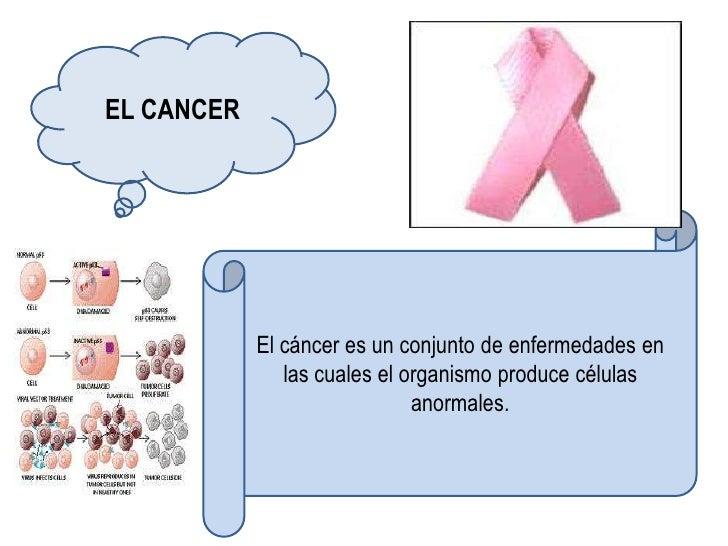 EL CANCER            El cáncer es un conjunto de enfermedades en               las cuales el organismo produce células    ...
