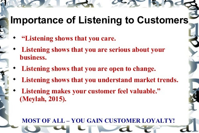 Importance Of Listening To A Customer
