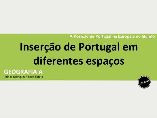 A Posição de Portugal na Europa e no Mundo Inserção de Portugal em diferentes espaços