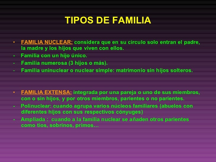 Powerpoint familia Tipos de familia nuclear