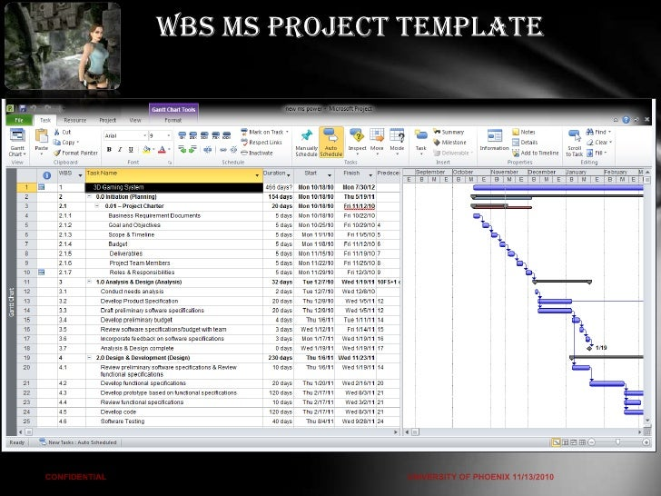ms project wbs