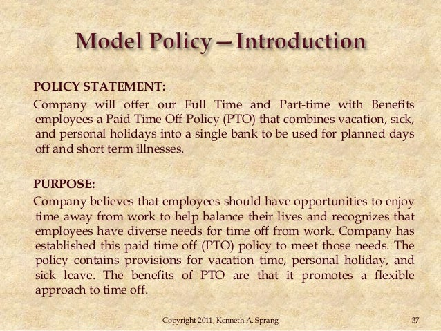 Vacation accrual policy example for Paid time off policy template