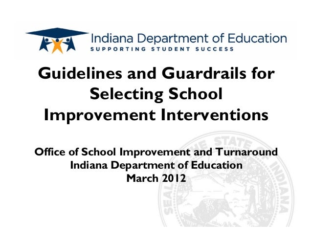 Subtitle Guidelines and Guardrails for Selecting School Improvement Interventions Office of School Improvement and Turnaro...