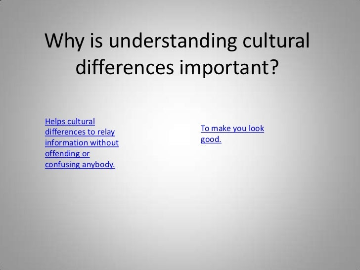 Why is understanding cultural  differences important?Helps culturaldifferences to relay   To make you lookinformation with...