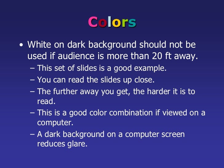 Powerpoint Guidelines - Dark background for powerpoint