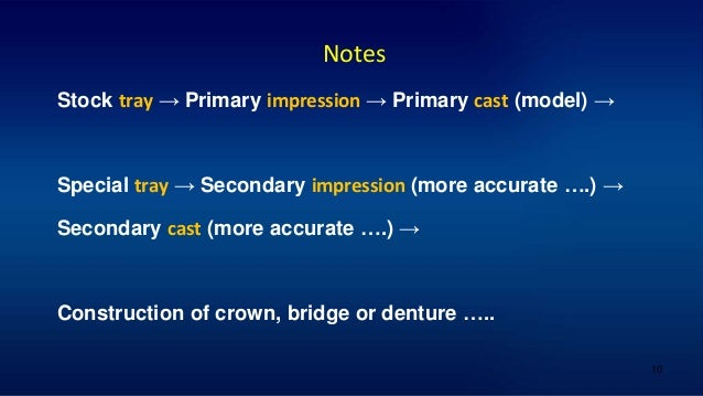 10 Notes Stock tray → Primary impression → Primary cast (model) → Special tray → Secondary impression (more accurate ….) →...
