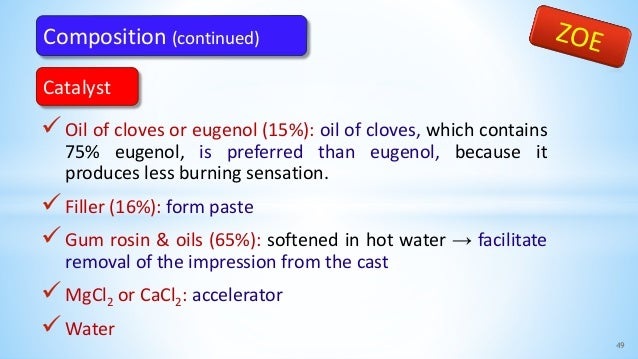 Oil of cloves or eugenol (15%): oil of cloves, which contains 75% eugenol, is preferred than eugenol, because it produces...