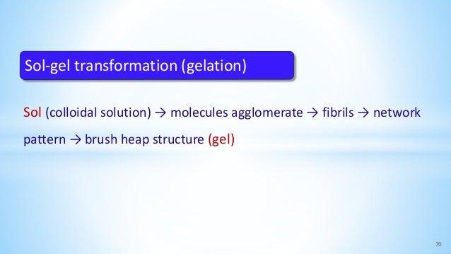 Sol (colloidal solution) → molecules agglomerate → fibrils → network pattern → brush heap structure (gel) 70 Sol-gel trans...