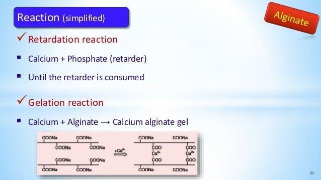 Retardation reaction  Calcium + Phosphate (retarder)  Until the retarder is consumed Gelation reaction  Calcium + Alg...