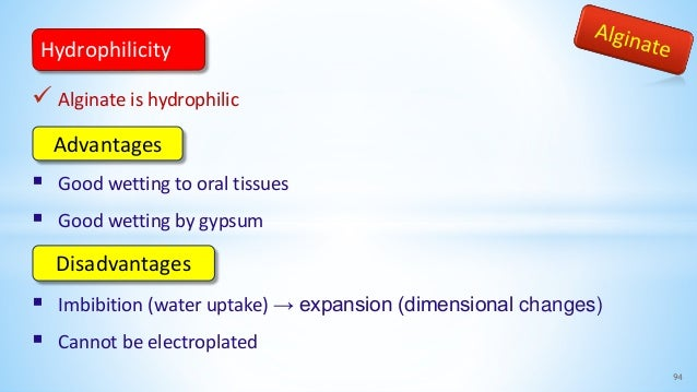  Alginate is hydrophilic  Good wetting to oral tissues  Good wetting by gypsum  Imbibition (water uptake) → expansion ...