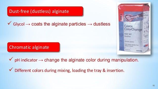  Glycol → coats the alginate particles → dustless 98 Dust-free (dustless) alginate Chromatic alginate  pH indicator → ch...