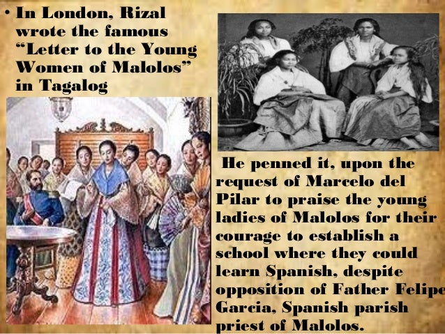 to the young women of malolos To the young women of malolos (london, february 22, 1889) when i wrote noli me tangere, i asked myself whether bravery was a common thing in the women of our people.