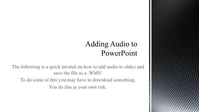 adding audio to powerpoint slids