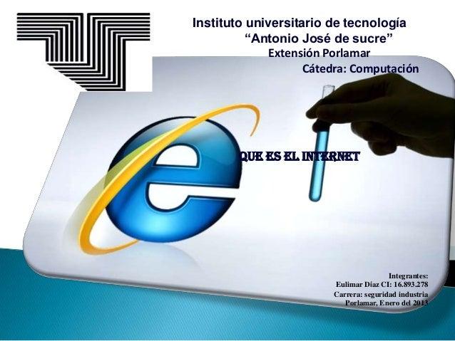 """Instituto universitario de tecnología          """"Antonio José de sucre""""              Extensión Porlamar                    ..."""