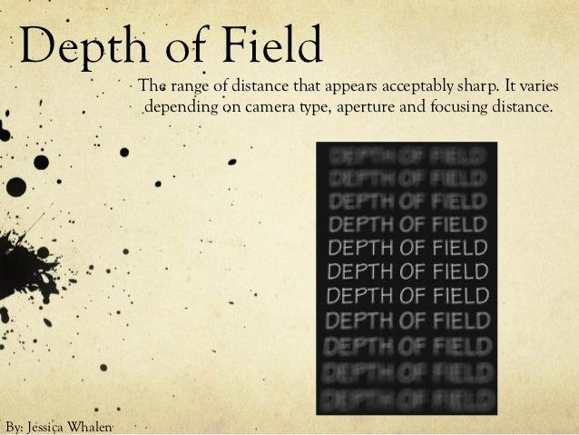 Depth of Field                     The range of distance that appears acceptably sharp. It varies                      dep...