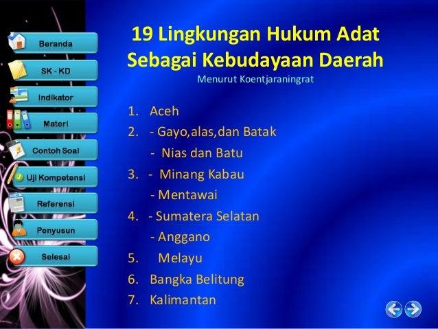 19 Lingkungan Hukum Adat Sebagai Kebudayaan Daerah            Menurut Koentjaraningrat8. - Minahasa               14. Timo...