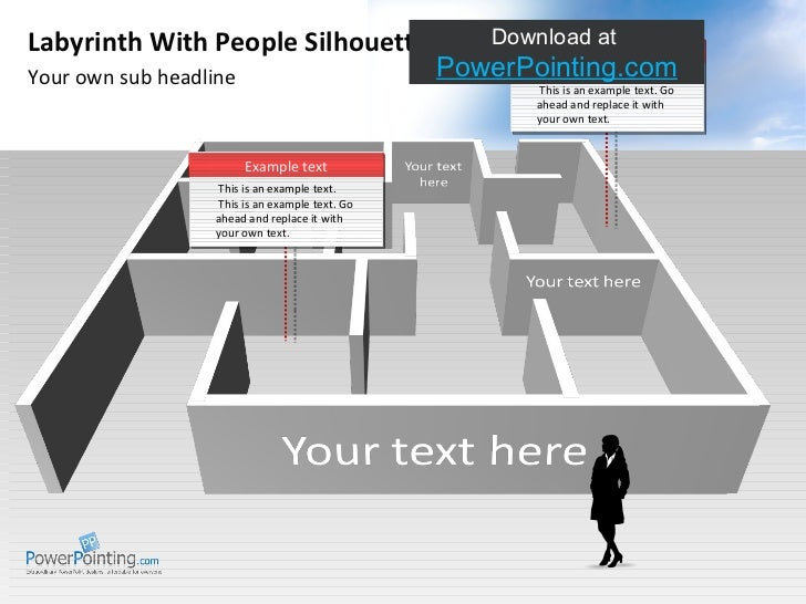 Your own sub headline Labyrinth With People Silhouettes Download at  SlideShop.com This is an example text. This is an exa...