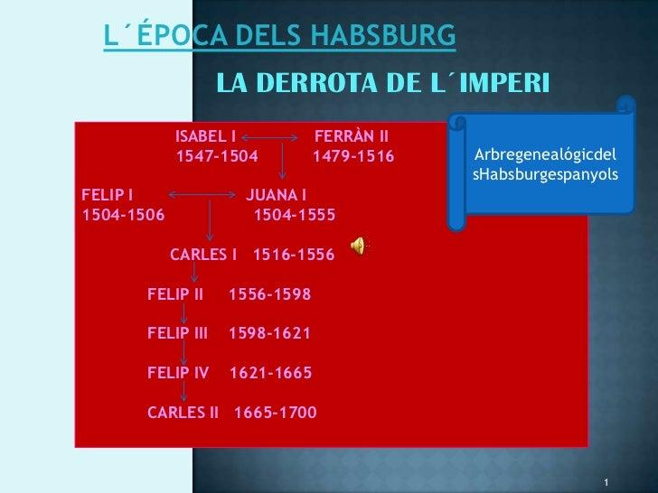 L´ÉPOCA DELS HABSBURG                   LA DERROTA DE L´IMPERI            ISABEL I           FERRÀN II            1547-150...