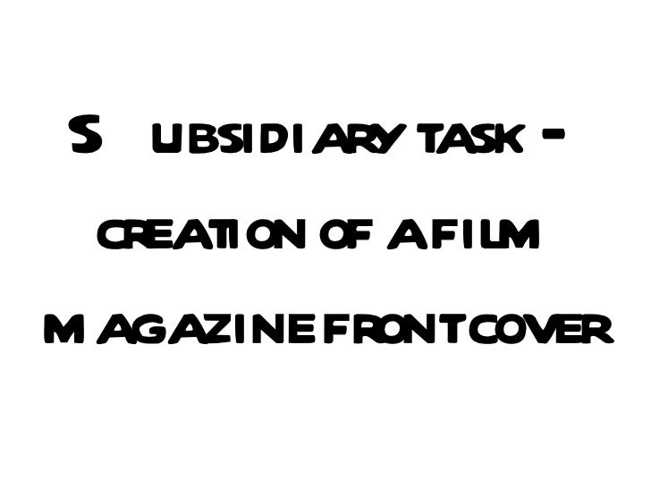 Subsidiary task – creation of a film magazine front cover