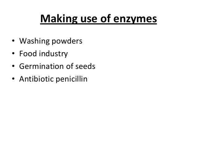 Making use of enzymes • Washing powders • Food industry • Germination of seeds • Antibiotic penicillin