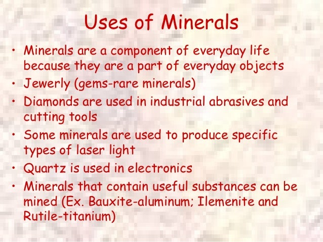 Power point mineral notes for Uses of soil in daily life