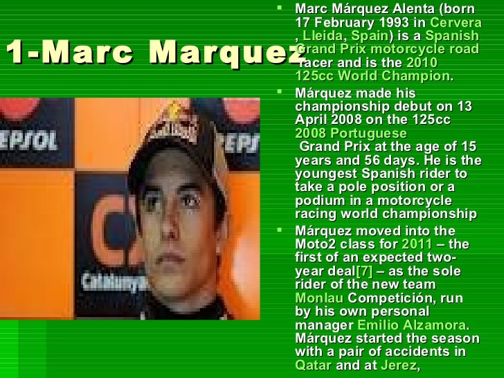 2-Pol Espargaro             Pol Espargaró (born              June 10, 1991 in              Granollers,              Barce...