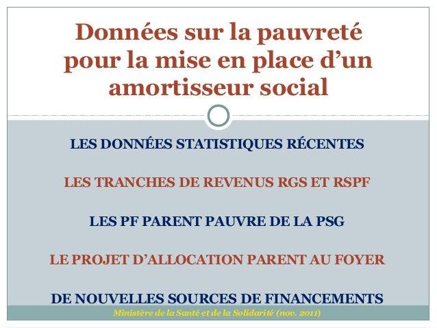Données sur la pauvreté pour la mise en place d'un    amortisseur social  LES DONNÉES STATISTIQUES RÉCENTES LES TRANCHES D...