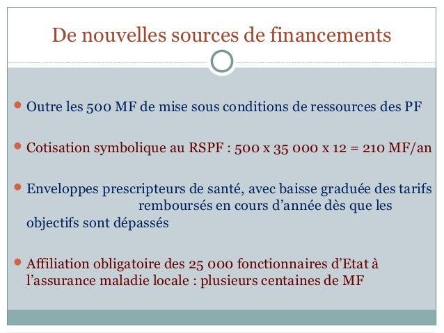 De nouvelles sources de financements Outre les 500 MF de mise sous conditions de ressources des PF Cotisation symbolique...