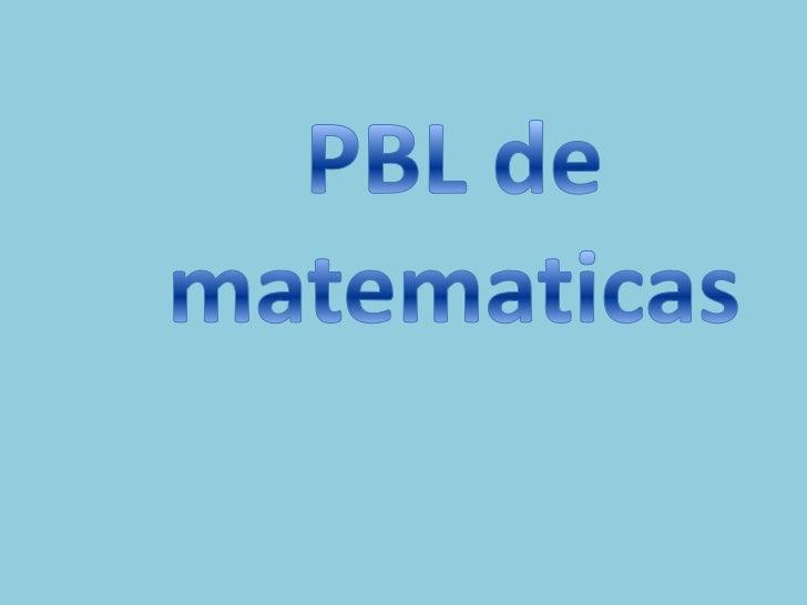 PBL de matematicas<br />