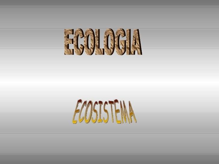 ECOLOGIA ECOSISTEMA