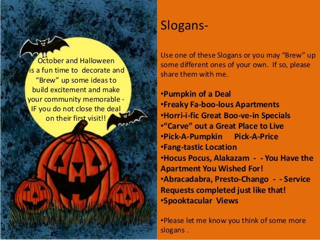 Halloween Quotes For Flyers. October Themed Apartment Marketing Ideas Low  Cost .