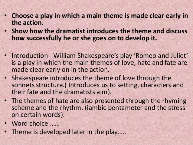 The Five Major Themes of Romeo and Juliet with an Explanation of Each