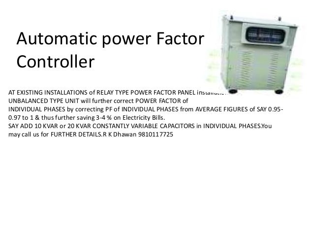 Power point of automatic power factor controller