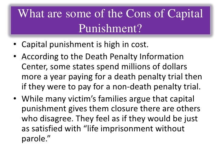 the pros and cons of parole essay Original question: what are some pros and cons of the death penalty pros: closure the death of a murderer is often seen as a just form of retribution by the family.