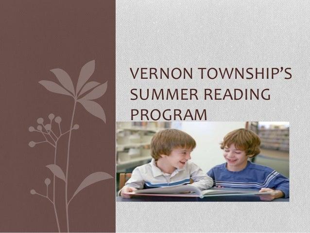VERNON TOWNSHIP'S SUMMER READING PROGRAM