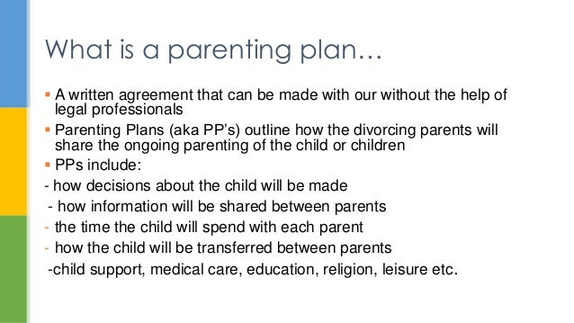 Parenting Plan Template What Is A Parenting Plan Powerpoint