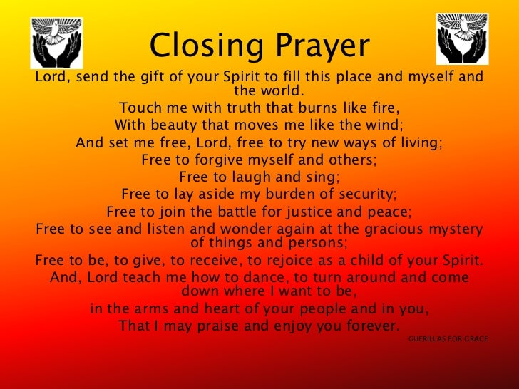 Closing Prayer - to End a Meeting or Gathering