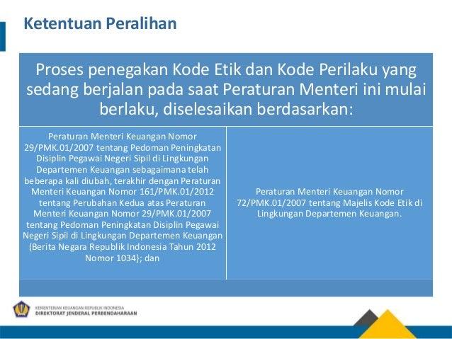 Proses penegakan Kode Etik dan Kode Perilaku yang sedang berjalan pada saat Peraturan Menteri ini mulai berlaku, diselesai...