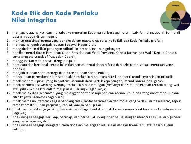 Kode Etik dan Kode Perilaku Nilai Integritas 1. menjaga citra, harkat, dan martabat Kementerian Keuangan di berbagai forum...