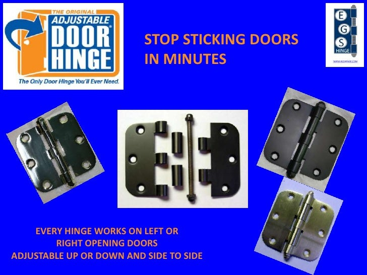 STOP STICKING DOORS<br />IN MINUTES<br />EVERY HINGE WORKS ON LEFT OR <br />RIGHT OPENING DOORS<br />ADJUSTABLE UP OR DOWN...
