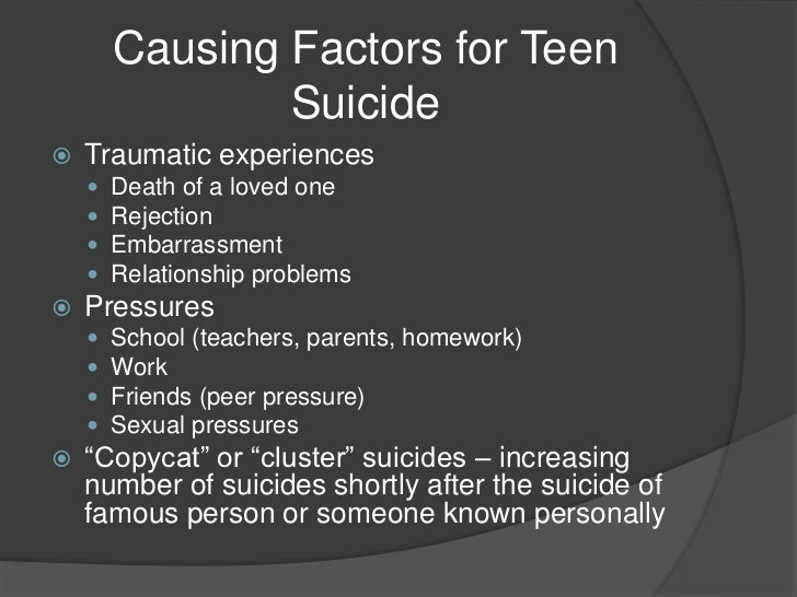 causes of teenage suicide About teen suicide but also some controversy, according to mental  health  experts' leading causes of concern tied to 13 reasons why.