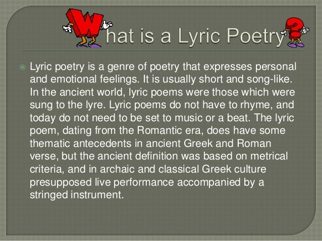 Powerpoint presentationLyric Poetry